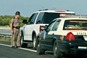 State patrol pulling over a motorist.