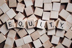 Equity written in scrabble letters