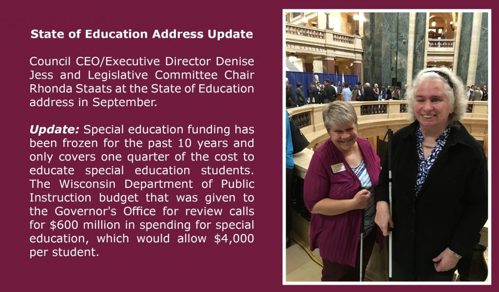 State of Education Address Update: Executive Director Denise Jess and Rhonda Staats at the address in September.