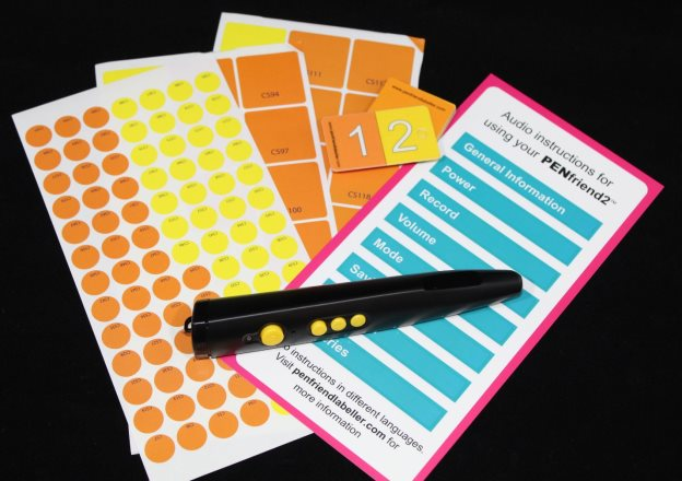 A PenFriend device, labels and instructions.