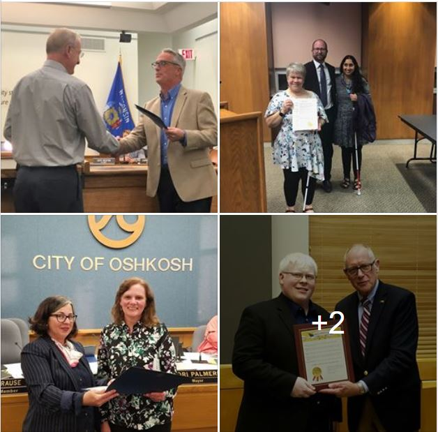 Four photos of people accepting proclamations on behalf of the Council.