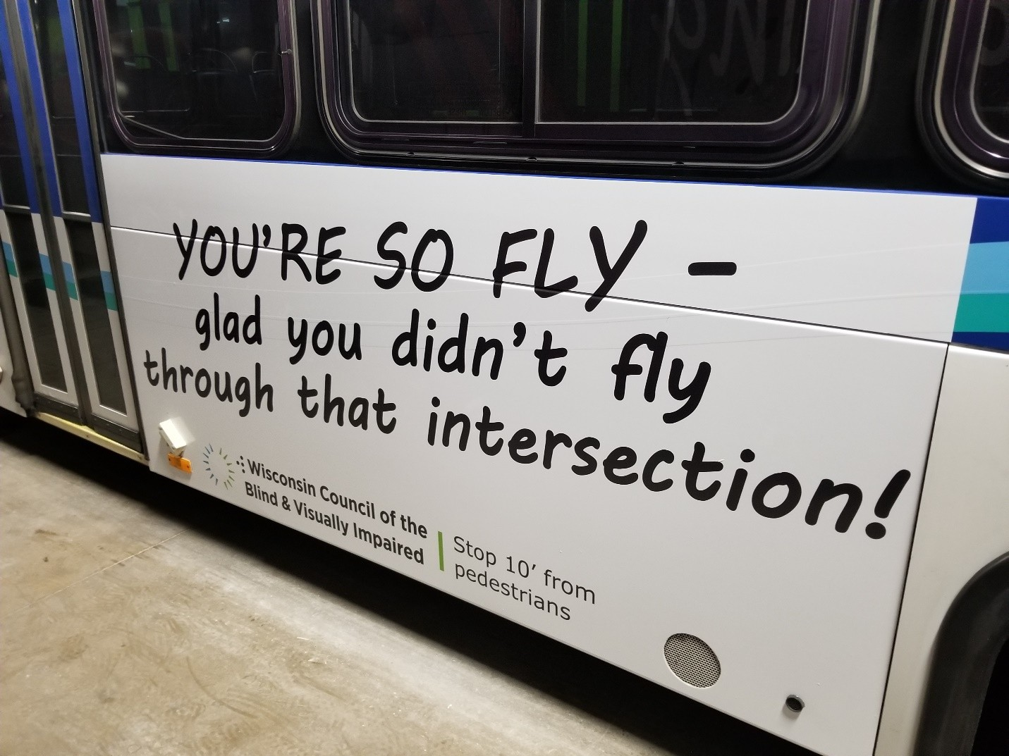 One of the Council's ads on a bus in La Crosse.