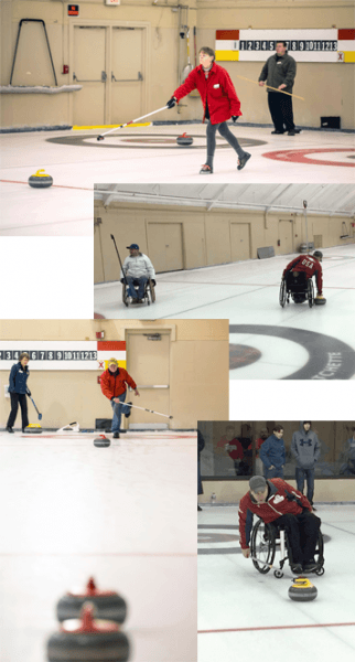 A collage of curling photos.
