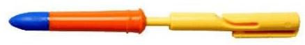 A yellow/orange/blue plastic pen-shaped item.