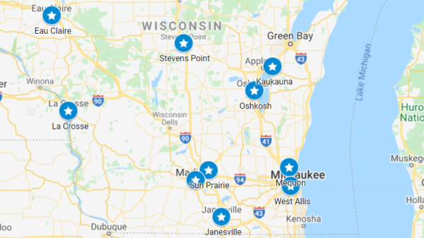 Map of Wisconsin proclamation sites.