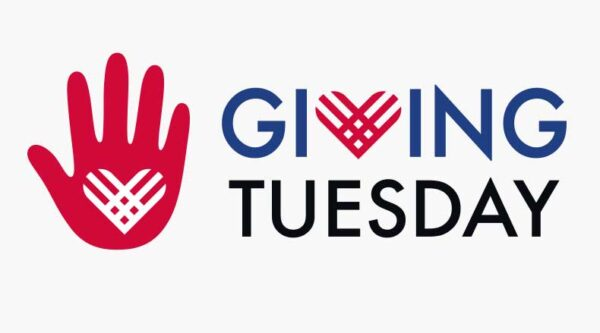 Graphic of a hand next to Giving Tuesday logo