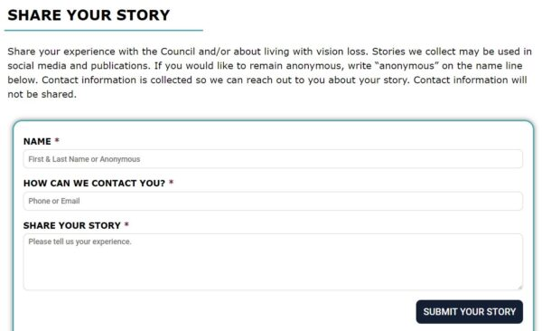 Screenshot of Share Your Story Form on Council website