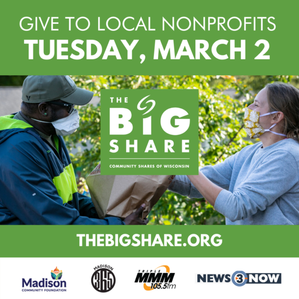 Person handing another person a bag with logos of media partners below and the words Give to Local Nonprofits Tuesday, March 2.