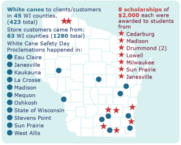 A map of Wisconsin marked with locations of people who received white canes, store customers and scholarship recipients from the Council.
