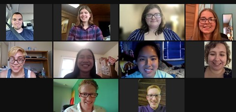 Ten students at a scholarship reception held on Zoom.