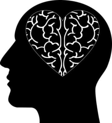 Graphic of a silhouette of a human head with a a heart shaped brain