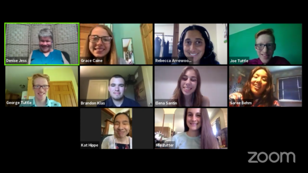 Students and Scholarship Committee members smile in a Zoom meeting.