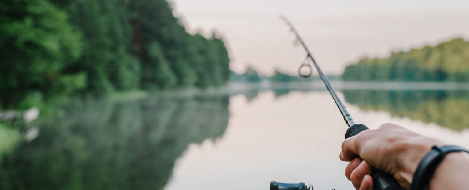 A hand holding a fishing rod extended out over a lake.