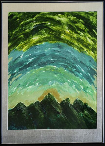 Painting of a sunrise over dark green mountains.