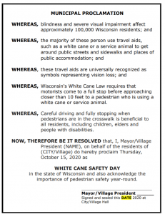 2020 White Cane Safety Day Proclamtion