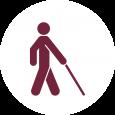 White cane icon on white background